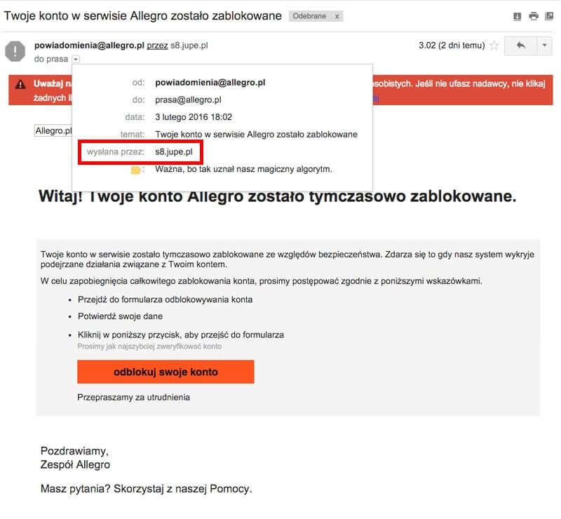 phishing-w-mailu-od-allegro