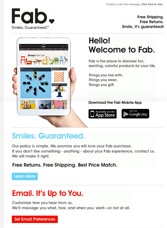 E-commerce: Welcome email