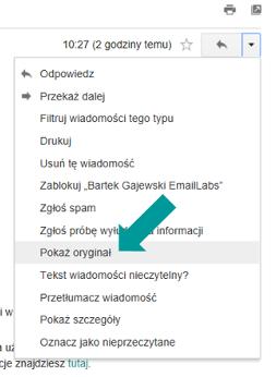 Sprawdzanie uwierzytelnienia w Gmail